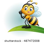 Cartoon Bee Standing On A Leaf