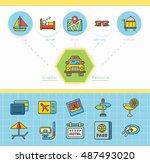 icon set travel vector | Shutterstock .eps vector #487493020