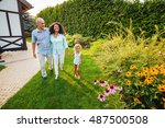 mix raced family waling in the... | Shutterstock . vector #487500508