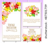invitation with floral... | Shutterstock .eps vector #487501759