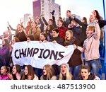 sport fans keep champion banner ... | Shutterstock . vector #487513900