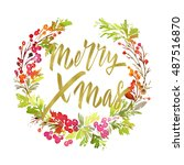 christmas card. watercolor... | Shutterstock . vector #487516870