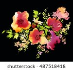 flowers watercolor illustration.... | Shutterstock . vector #487518418