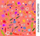 children's merry vector pink... | Shutterstock .eps vector #487523950