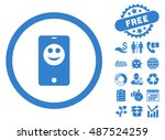 mobile phone smiley icon with... | Shutterstock .eps vector #487524259