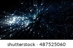 a soft zoom particle background. | Shutterstock . vector #487525060