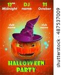 halloween party poster... | Shutterstock .eps vector #487537009