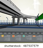 flat 3d road info graphics | Shutterstock .eps vector #487537579