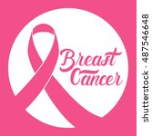 pink ribbon breast cancer... | Shutterstock .eps vector #487546648