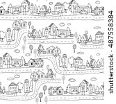 seamless pattern with hand town ... | Shutterstock .eps vector #487558384