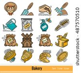 big set of all steps of bakery...