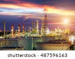oil and gas industry   refinery ... | Shutterstock . vector #487596163
