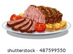 illustration of roast beef with ... | Shutterstock .eps vector #487599550