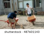 blurred image   a shovel and... | Shutterstock . vector #487601143