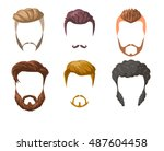 beards  mustaches and... | Shutterstock .eps vector #487604458