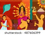 vector illustration of happy... | Shutterstock .eps vector #487606399
