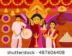 vector illustration of happy... | Shutterstock .eps vector #487606408