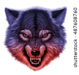 Angry Wolf Head. White...
