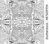 tracery seamless calming... | Shutterstock .eps vector #487609954