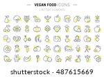 set vector line icons in flat... | Shutterstock .eps vector #487615669