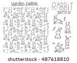 cute cartoon rabbit seamless... | Shutterstock .eps vector #487618810