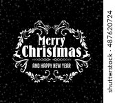 wish you merry christmas text... | Shutterstock .eps vector #487620724