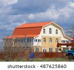 the roof of corrugated sheet on ... | Shutterstock . vector #487625860