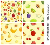 set of vector fruits seamless... | Shutterstock .eps vector #487626130