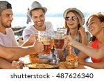 group of friends hanging out... | Shutterstock . vector #487626340