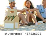 group of friends hanging out... | Shutterstock . vector #487626373