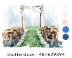 watercolor wedding sketch.... | Shutterstock . vector #487629394