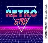 80s retro futurism style. retro ... | Shutterstock .eps vector #487630666