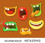 cute monsters mouths. monster... | Shutterstock .eps vector #487635943