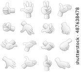 cartoon hands isolated on white ... | Shutterstock . vector #487638478