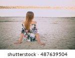 girl at the sandy beach | Shutterstock . vector #487639504