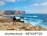 On The Cliff Of Dwejra Bay In...