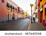 morning streets in puebla   one ... | Shutterstock . vector #487640548