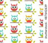 vector seamless pattern on the... | Shutterstock .eps vector #487642639