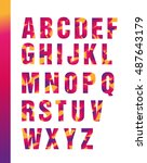 latin alphabet colored  bright. ... | Shutterstock .eps vector #487643179