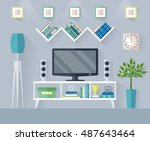 design tv zone in a flat style. ...