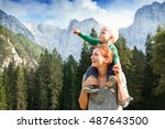 happy mother and her child... | Shutterstock . vector #487643500