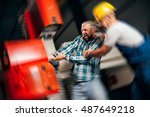 worker with out safety...   Shutterstock . vector #487649218