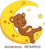 the bear sleep on the moon | Shutterstock . vector #487649413