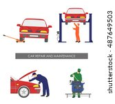 repair and car maintenance .... | Shutterstock . vector #487649503