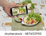 using mobile phone to take... | Shutterstock . vector #487652950
