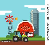 farm scenery barn  grain silo ... | Shutterstock .eps vector #487653250