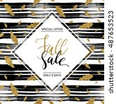 autumn fall sale vector text on ... | Shutterstock .eps vector #487653523