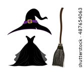 Witch Hat . Black Witch Dress....