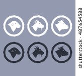 vector cow sheep and goat icons   Shutterstock .eps vector #487654588