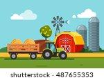 farm meadow scenery barn  grain ... | Shutterstock .eps vector #487655353